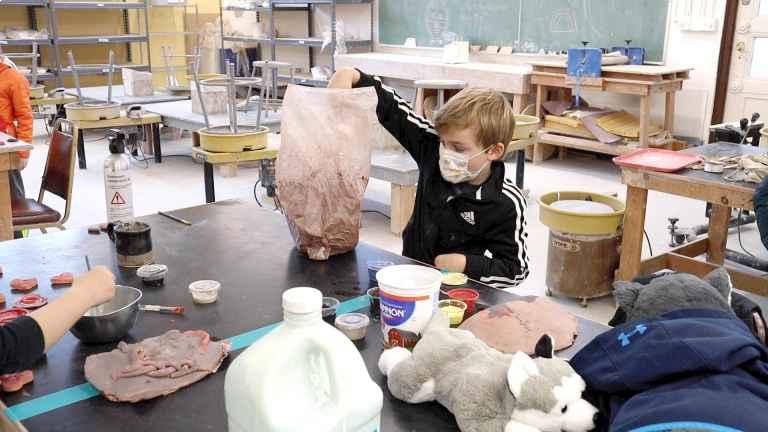 person sculpting