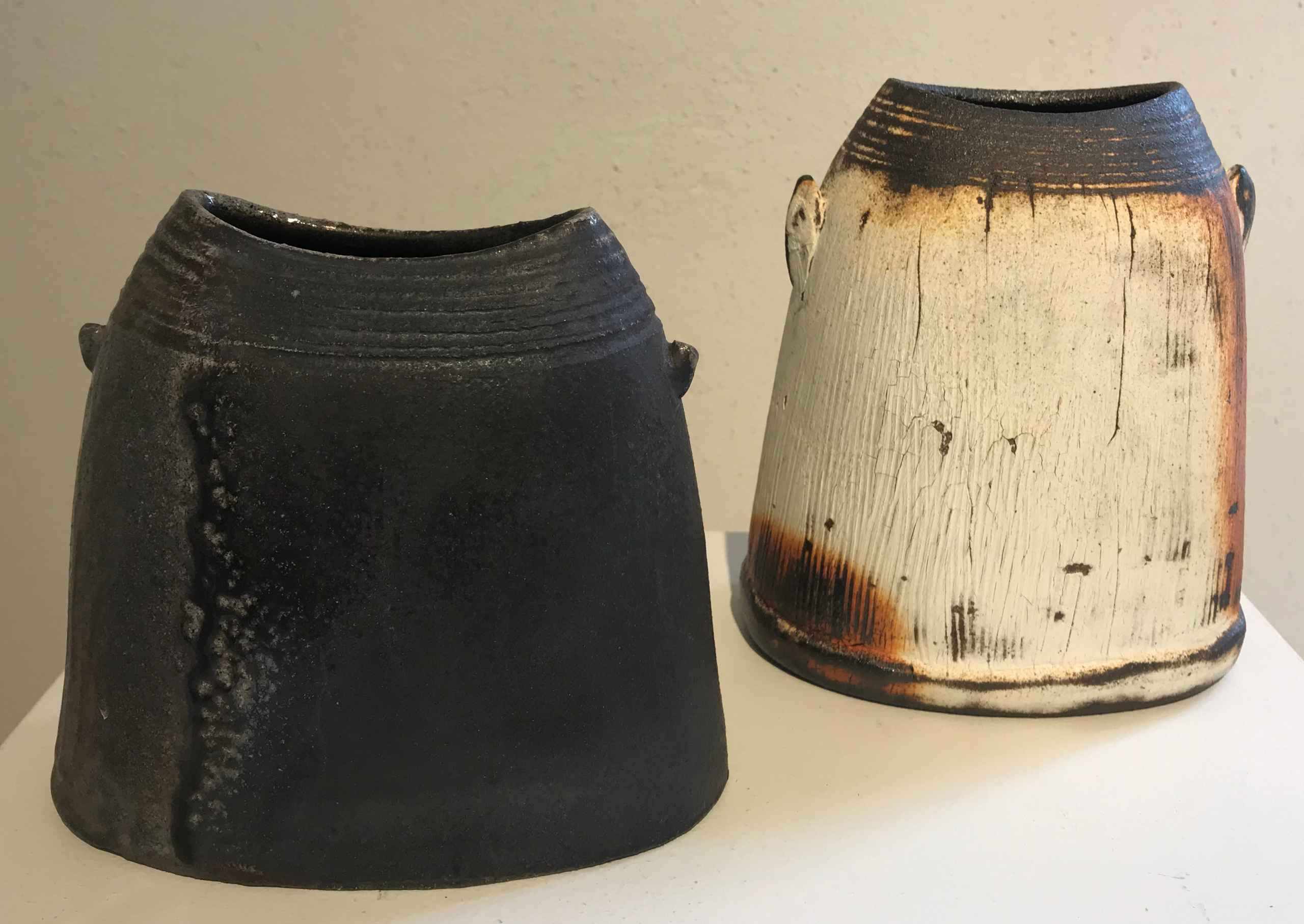2 ceramic jars by George Kibler