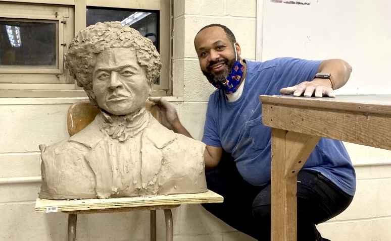 Wayman Scott with Sculpture